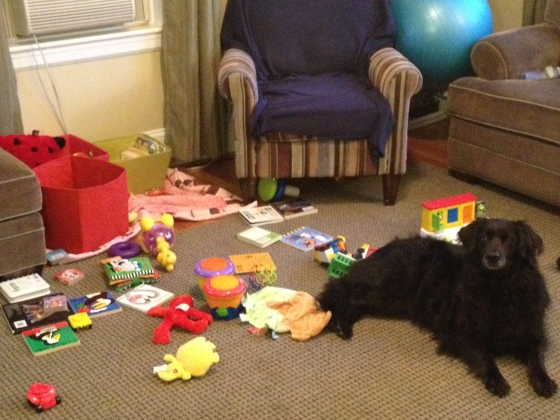 I'm using this photo only for the angle. Obviously the toy pile is generally contained to the baskets, not strewn about the floor. Still.